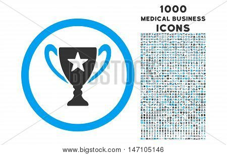 Trophy Cup rounded glyph bicolor icon with 1000 medical business icons. Set style is flat pictograms, blue and gray colors, white background.
