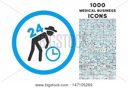 Around the Clock Work rounded glyph bicolor icon with 1000 medical business icons. Set style is flat pictograms, blue and gray colors, white background.