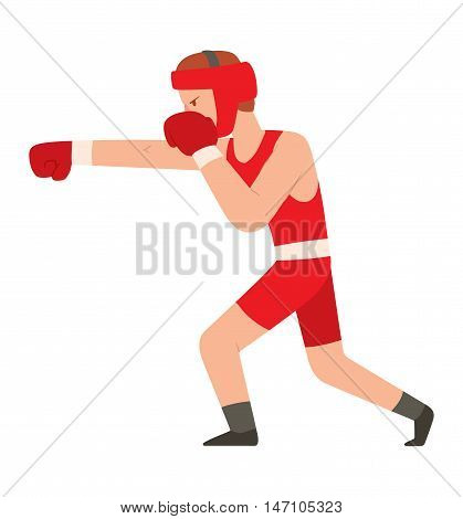 Fighter kickboxer man kick punch grab throw body vector. Athlete training martial boxing fighter people symbol character. Fighter man strong gym kick body. Fight kickboxer people