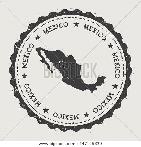 Mexico Hipster Round Rubber Stamp With Country Map. Vintage Passport Stamp With Circular Text And St