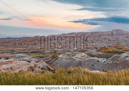 Rolling Hills and Mountains in Badlands National Park South Dakota