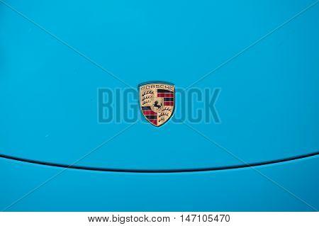 Vallelunga, Rome, Italy. September 10Th 2016. Porsche Logo On Car Hood