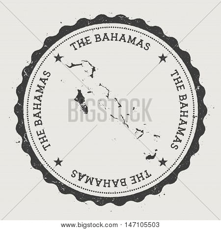 Bahamas Hipster Round Rubber Stamp With Country Map. Vintage Passport Stamp With Circular Text And S