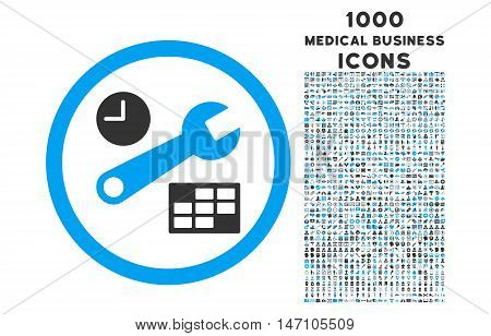 Date and Time Setup rounded glyph bicolor icon with 1000 medical business icons. Set style is flat pictograms, blue and gray colors, white background.
