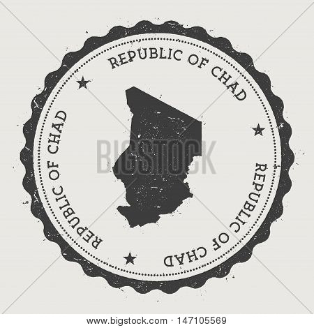 Chad Hipster Round Rubber Stamp With Country Map. Vintage Passport Stamp With Circular Text And Star