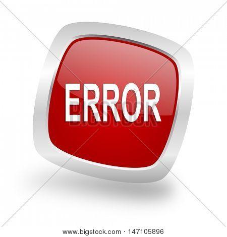 error square glossy red chrome silver metallic web icon