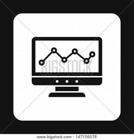 Computer monitor with business graph icon in simple style on a white background vector illustration
