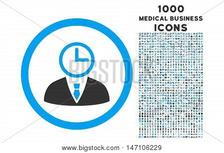 Time Manager rounded glyph bicolor icon with 1000 medical business icons. Set style is flat pictograms, blue and gray colors, white background.