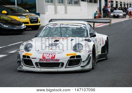 Vallelunga, Rome, Italy. September 10Th 2016. Italian Touring Championship. Porsche 911 Exit From Pi