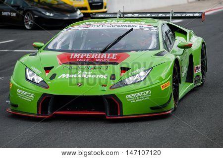 Vallelunga, Rome, Italy. September 10Th 2016. Italian Touring Championship. Lamborghini Huracan Exit