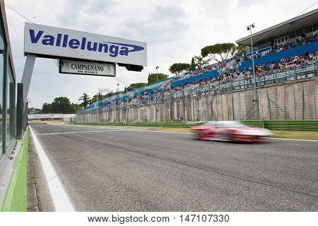 Vallelunga, Rome, Italy. September 10Th 2016. Circuit Banner On Finish Line