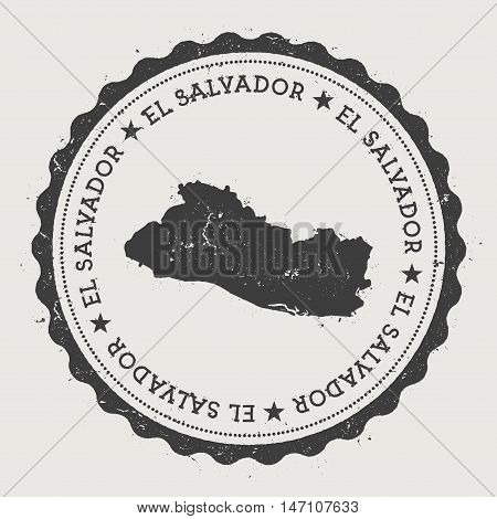 El Salvador Hipster Round Rubber Stamp With Country Map. Vintage Passport Stamp With Circular Text A