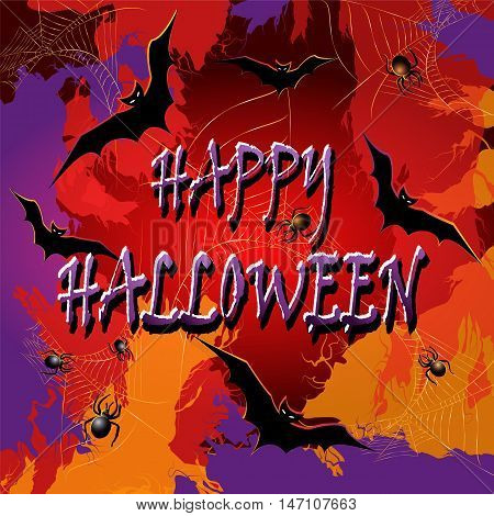 Colorful Halloween background with the spiderwebs and bats. Vector illustration.
