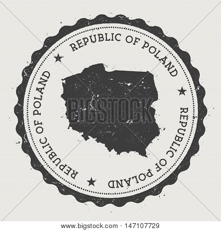 Poland Hipster Round Rubber Stamp With Country Map. Vintage Passport Stamp With Circular Text And St