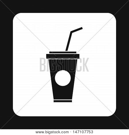 Paper cup for beverages with lid and straw icon in simple style on a white background vector illustration