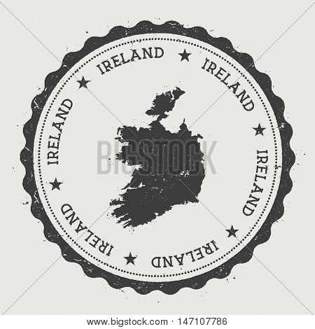 Ireland Hipster Round Rubber Stamp With Country Map. Vintage Passport Stamp With Circular Text And S