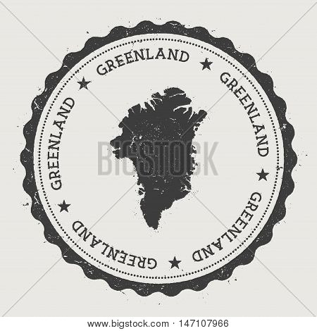 Greenland Hipster Round Rubber Stamp With Country Map. Vintage Passport Stamp With Circular Text And
