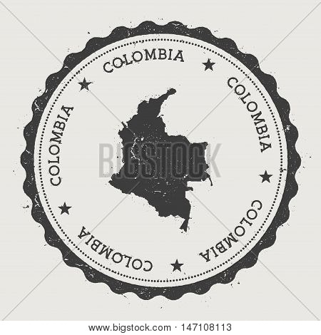 Colombia Hipster Round Rubber Stamp With Country Map. Vintage Passport Stamp With Circular Text And