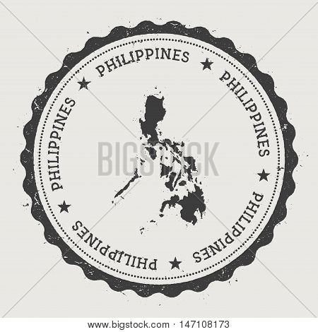 Philippines Hipster Round Rubber Stamp With Country Map. Vintage Passport Stamp With Circular Text A