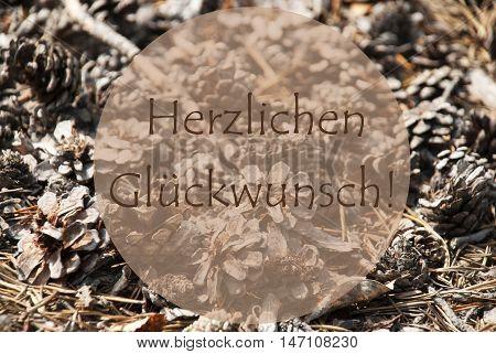 Texture Of Fir Or Pine Cone. Autumn Season Greeting Card. German Text Herzlichen Glueckwunsch Means Congratulations