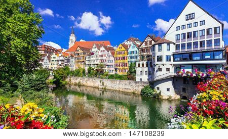 Beautiful places of Germany - Tubingen, colourful floral town