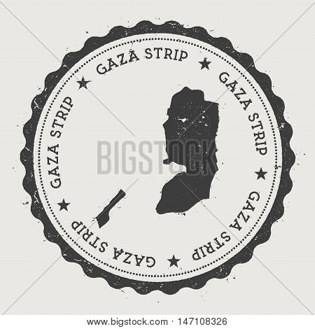 Palestine Hipster Round Rubber Stamp With Country Map. Vintage Passport Stamp With Circular Text And