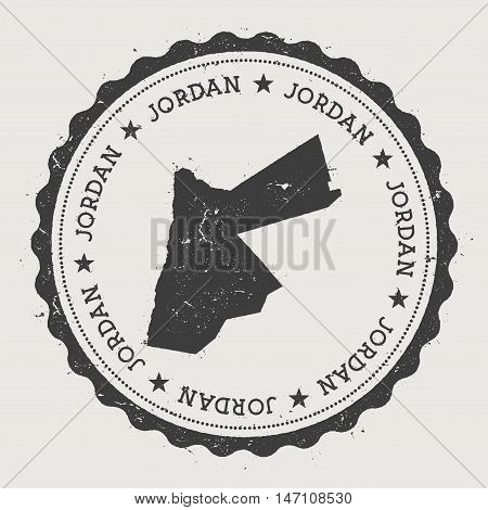 Jordan Hipster Round Rubber Stamp With Country Map. Vintage Passport Stamp With Circular Text And St