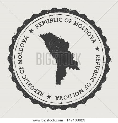 Moldova, Republic Of Hipster Round Rubber Stamp With Country Map. Vintage Passport Stamp With Circul