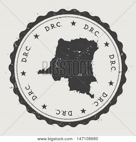 Congo, The Democratic Republic Of The Hipster Round Rubber Stamp With Country Map. Vintage Passport