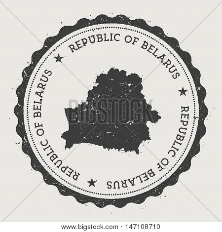 Belarus Hipster Round Rubber Stamp With Country Map. Vintage Passport Stamp With Circular Text And S