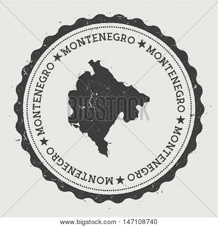 Montenegro Hipster Round Rubber Stamp With Country Map. Vintage Passport Stamp With Circular Text An