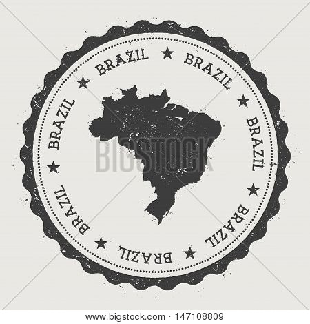 Brazil Hipster Round Rubber Stamp With Country Map. Vintage Passport Stamp With Circular Text And St