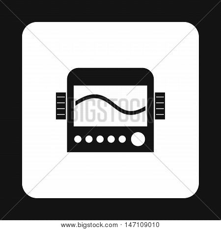 Display with cardiogram, ecg machine icon in simple style on a white background vector illustration
