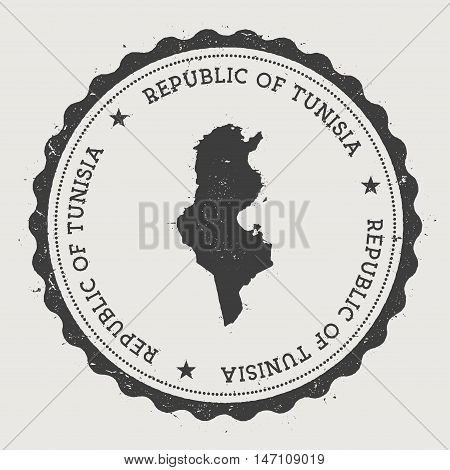 Tunisia Hipster Round Rubber Stamp With Country Map. Vintage Passport Stamp With Circular Text And S