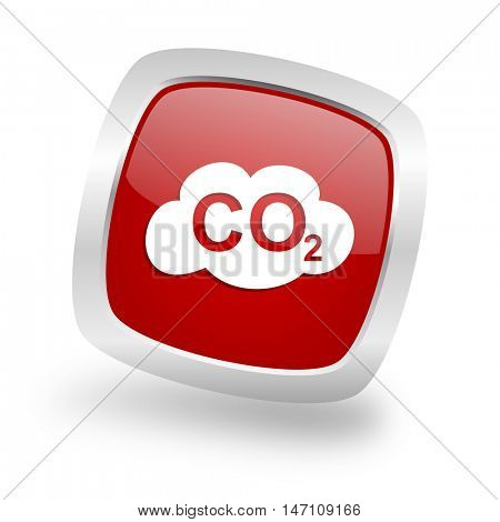 carbon dioxide square glossy red chrome silver metallic web icon