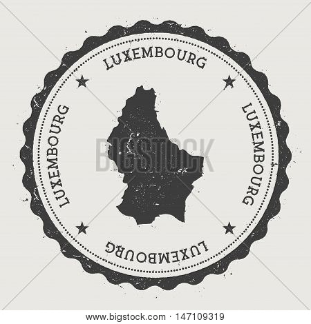 Luxembourg Hipster Round Rubber Stamp With Country Map. Vintage Passport Stamp With Circular Text An