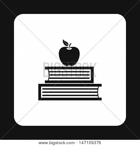 Two books and apple icon in simple style on a white background vector illustration