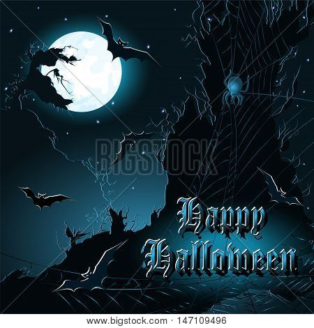 Halloween background with cliffs bats moon and spiderweb. Vector illustration.