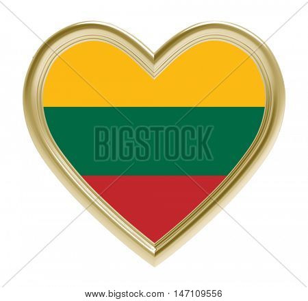 Lithuanian flag in golden heart isolated on white background. 3D illustration.