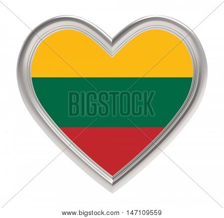 Lithuanian flag in silver heart isolated on white background. 3D illustration.