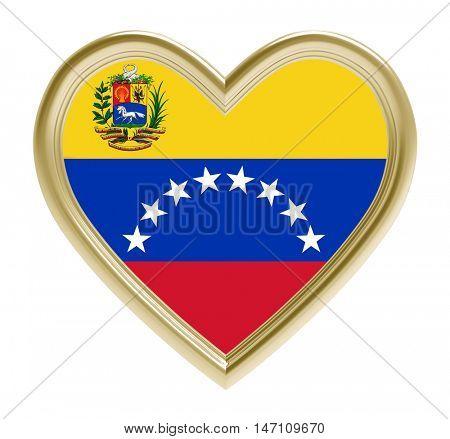 Venezuelan flag in golden heart isolated on white background. 3D illustration.