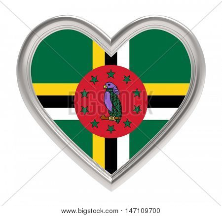 Dominica flag in silver heart isolated on white background. 3D illustration.