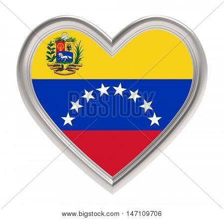 Venezuelan flag in silver heart isolated on white background. 3D illustration.