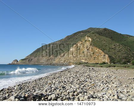 Morro Rock Area near Malibu, California showing beautiful ocean waves