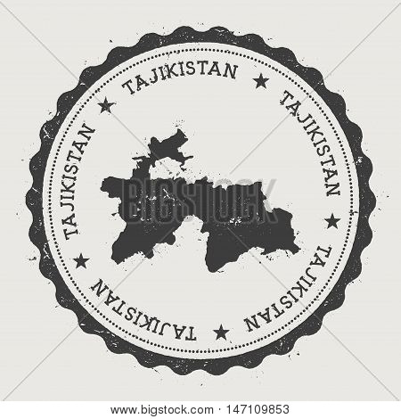 Tajikistan Hipster Round Rubber Stamp With Country Map. Vintage Passport Stamp With Circular Text An