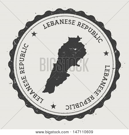 Lebanon Hipster Round Rubber Stamp With Country Map. Vintage Passport Stamp With Circular Text And S