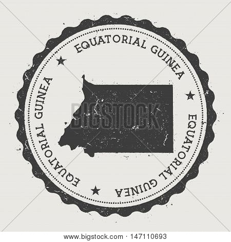 Equatorial Guinea Hipster Round Rubber Stamp With Country Map. Vintage Passport Stamp With Circular
