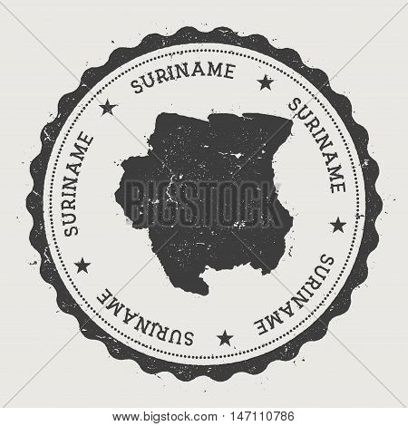 Suriname Hipster Round Rubber Stamp With Country Map. Vintage Passport Stamp With Circular Text And