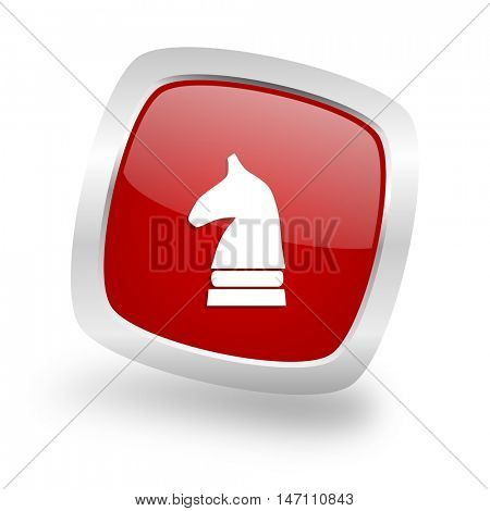 chess horse square glossy red chrome silver metallic web icon