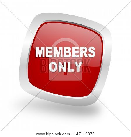 members only square glossy red chrome silver metallic web icon